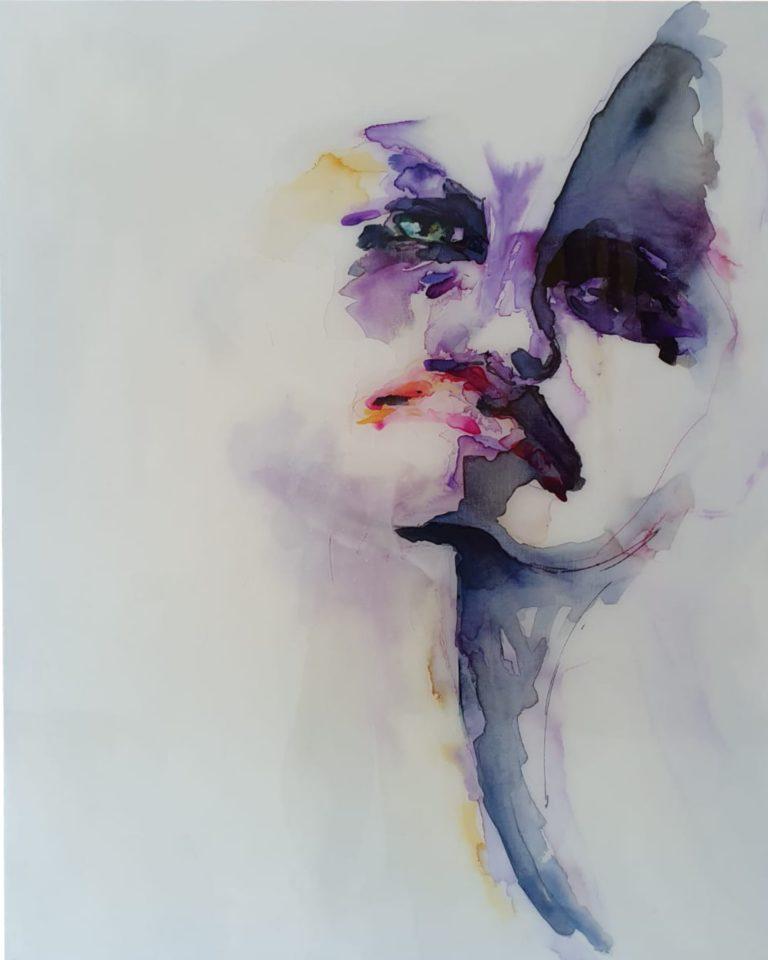 Epoxy mixed schilderij Purple white Antoynette Anema