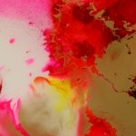 Epoxy schilderij rood abstract Antoynette Anema Epoxykunst resinart