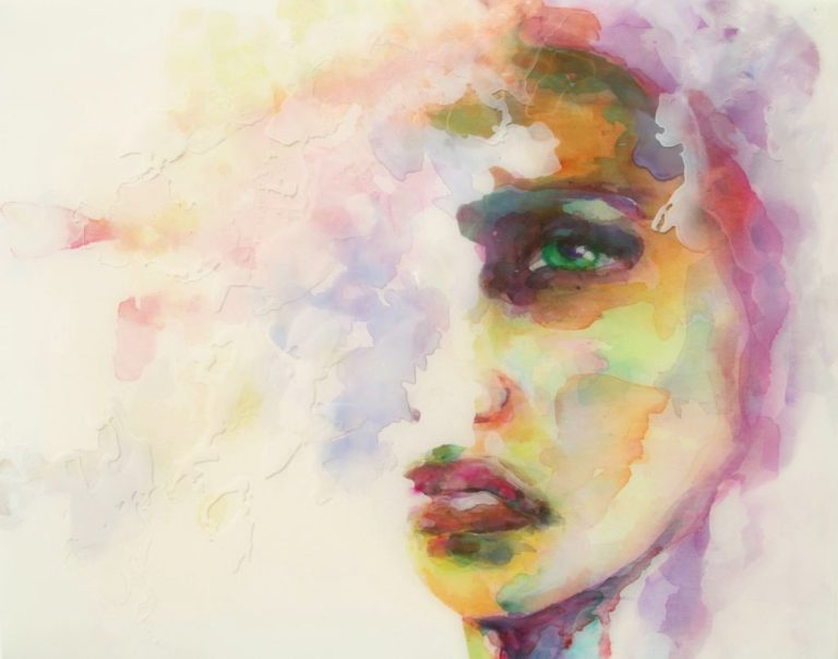 Epoxy schilderij portret watercolors antoynette Anema Epoxykunst resin art
