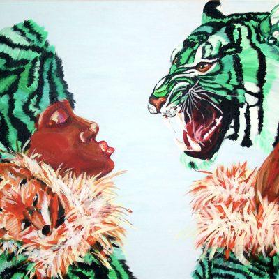 Antoynette Anema schilderij tijger met vrouw