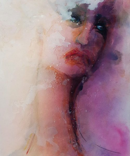 Epoxy portret Resin art Portrait in pink Antoynette Anema Hendriks